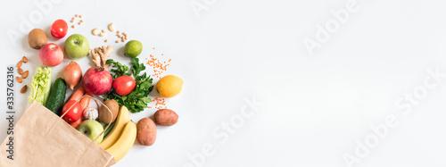Fototapeta Delivery or grocery shopping healthy food obraz na płótnie