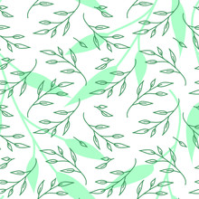 Seamless Floral Pattern With Green Graphic Leaves On The White Background