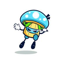 Cartoon Blue Mushroom  Jump Use One Sword On Left Hand