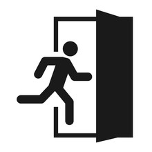 Running Man And Exit Door Sign...