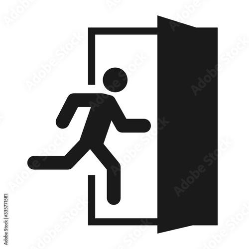 Foto Running man and exit door sign