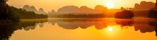 Amazing Sunrise Over Lake In T...
