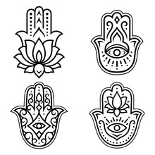 "Set Of Hamsa Hand Drawn Symbol With Lotus Flower. Decorative Pattern In Oriental Style For Interior Decoration And Henna Drawings. The Ancient Sign Of ""Hand Of Fatima""."
