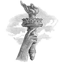 Statue Of Liberty Torch Engraving Style Illustration. Vector. Sky In Separate Layer.