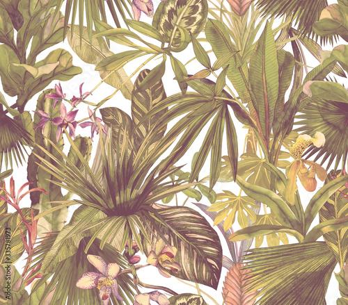 retro-z-liscmi-palmowymi-i-banaowca