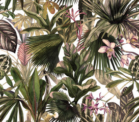 Fototapeta Malarstwo Tropical seamless pattern with tropical flowers, banana leaves. Round palm leaves, watercolor painted orchids.
