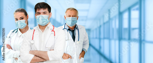 Canvastavla Doctor at hospital wearing medical mask to protect against coronavirus 2019 disease or COVID-19 global outbreak