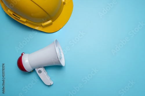 Announcement and announce advertising background public relations about construc Canvas Print