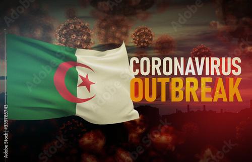 Coronavirus COVID-19 outbreak concept with flag of Algeria Wallpaper Mural