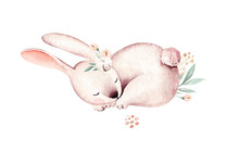 Watercolor Bunny Happy Easter Bunnies Design. Easter Rabbit