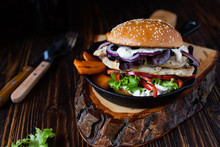 Healthy Diet Burger With Grill...