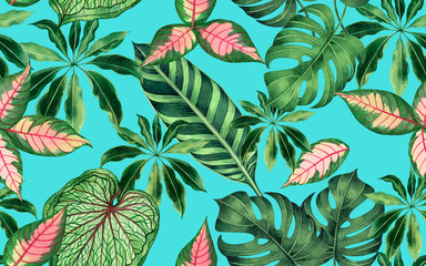 Watercolor painting colorful tropical palm leaf,green leaves seamless pattern...