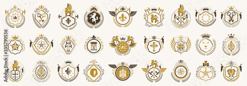 Foto Classic style emblems big set, ancient heraldic symbols awards and labels collection, classical heraldry design elements, family or business emblems