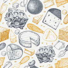 Cheese Seamless Pattern. Hand Drawn Vector Dairy Illustration. Engraved Style Different Cheese Kinds. Vintage Food Background.