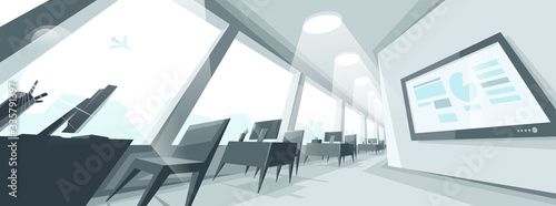 Fényképezés Office interior in distorted perspective vector illustration, modern workplace inner space