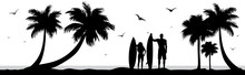 Vector Silhouette Of Surfers O...