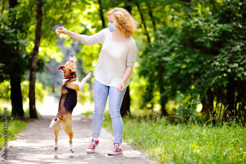 Naklejki psy  young-beautiful-woman-wearing-disposable-medical-face-mask-playing-with-beagle-dog-in-the-park