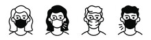Icons Man In Protective Medical Mask, Woman With Mouth Mask Sick And Healthy.