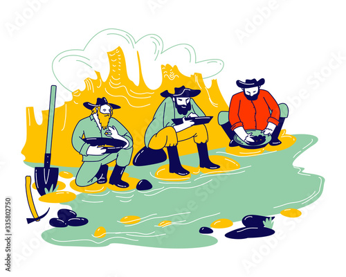 Obraz na plátne Group of Prospectors Male Characters Wearing Vintage Costumes and Hats Panning Golden Sand and Prills Sitting on River Side with Pickaxe and Spade