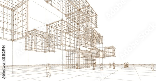 Fototapeta miasto   abstract-architecture-city-geometric-background-3d-illustration