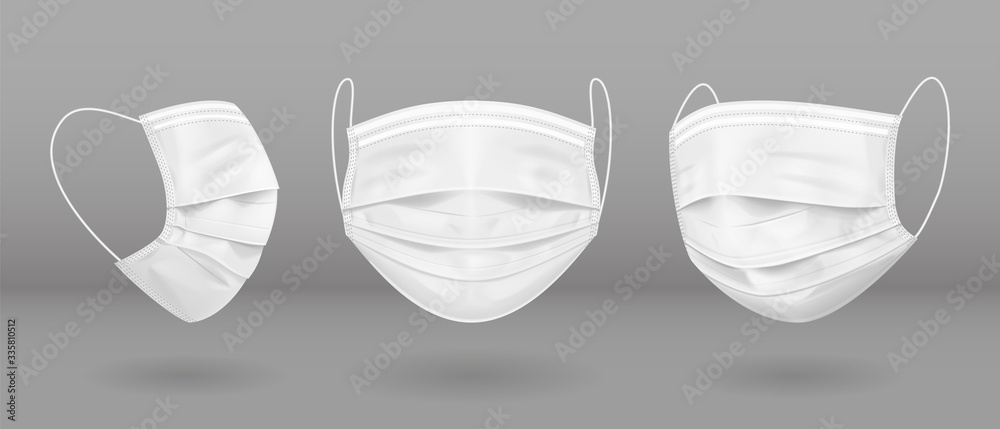 Fototapeta White medical mask in three projections. Virus protection. Vector EPS10