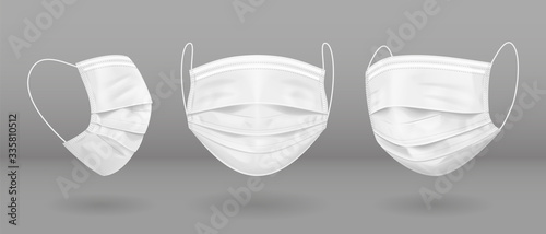 Fotografia White medical mask in three projections