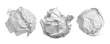 Set White Crumpled Paper Ball ...