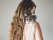 Adorable Kitty And Beautiful Woman. Close-up, Isolated Background. Studio Photo. Concept Of Care, Education, Training And Raising Of Animals