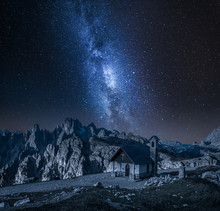 Milky Wa Over Small Chapel In ...