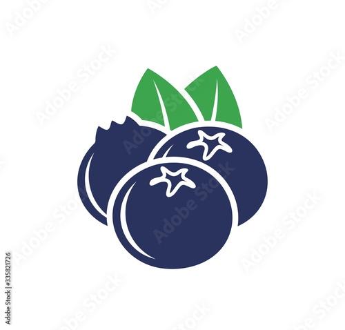 Photographie Blueberry logo. Isolated blueberry on white background
