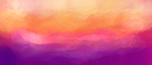 Violet Pink And Orange Gouache Background. The Colors Of The Sunset. Textured Abstract Background With Paint Strokes.