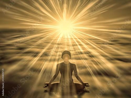 Obraz 朝日を浴びて瞑想する人のシルエット - fototapety do salonu