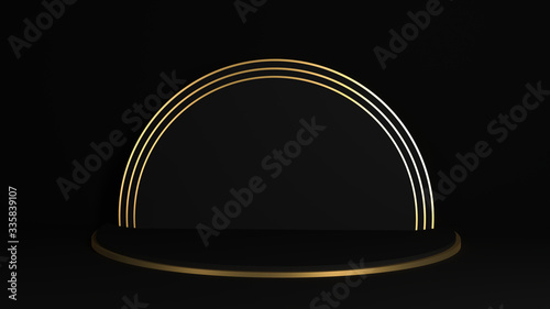 Cuadros en Lienzo Black and gold cylinder product display