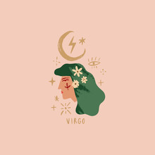 Zodiac Girl Virgo Character. Space Head Portrait Sign. Vector Illustration.