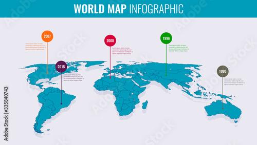 Fototapeta World map infographic template. 3d isometric. Vector obraz
