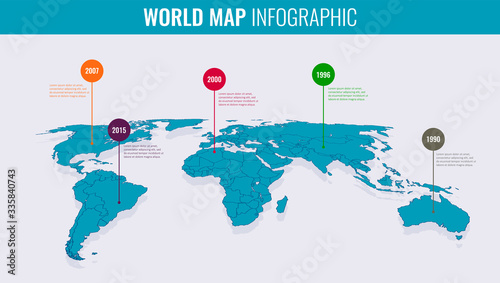 Slika na platnu World map infographic template. 3d isometric. Vector