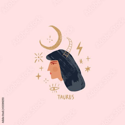 Obraz na plátně Zodiac girl Taurus character