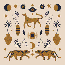 Cute Boho Leopard And Tigers. Vintage Chinese Style. Illustration In Vector.