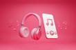 canvas print picture - Headphones and Smartphone,Melody note float around,On pink background,3d render.