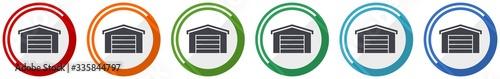 Fotografie, Obraz Garage building icon set, flat design vector illustration in 6 colors options fo