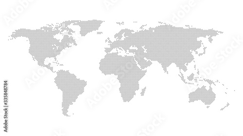 squares world map vector icon, countries and continents