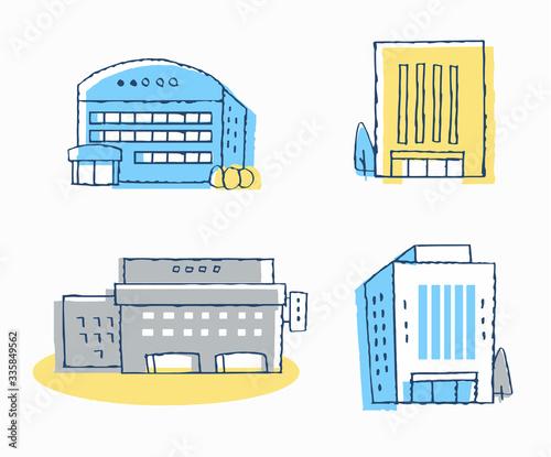 Obraz ビジネス 建物4セット - fototapety do salonu
