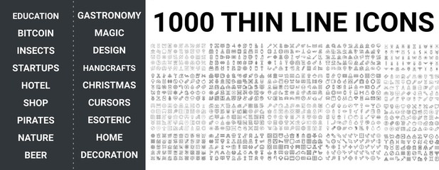 Big set of 1000 thin line icon. Education, bitcoin, insects, startup, hotel, shop, pirates, nature, beer, gastronomy, magic design, home, cursors, bitcoin, success icons, ui pack