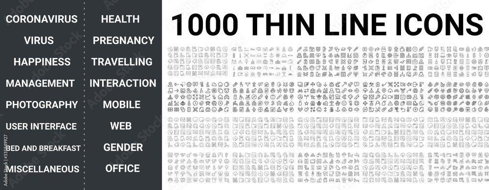 Fototapeta Big set of 1000 thin line icon. Coronavirus, virus, health, happiness, pregnancy, travelling, office, mobile, web, miscellaneous, food, management, photography, user interaction, gender icons, ui pack