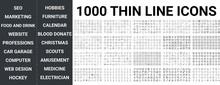 Big Set Of 1000 Thin Line Icon. Seo, Marketing, Food And Drinks, Website, Professions, Car Garage, Computer, Technology, Hockey, Web Design, Hobbies, Furniture, Calendar, Christmas Ui Pack