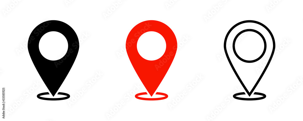Fototapeta Map pointers. Vector isolated elements. Location navigation icon. Vector outline illustration. Geo location point.