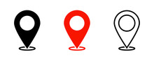 Map Pointers. Vector Isolated Elements. Location Navigation Icon. Vector Outline Illustration. Geo Location Point.