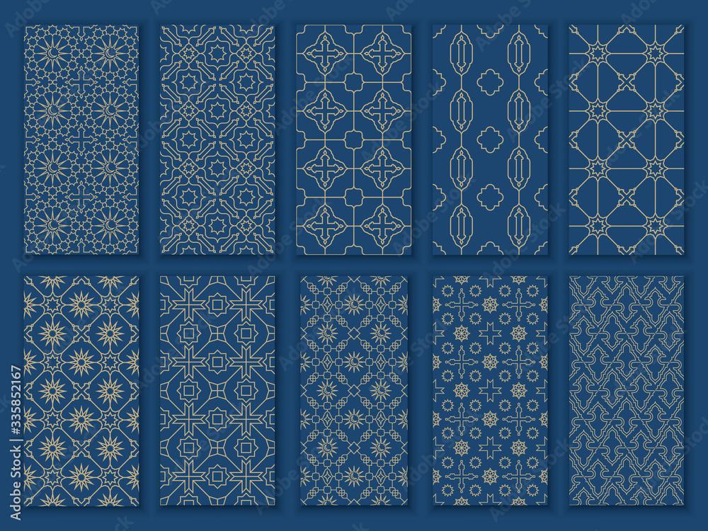 Fototapeta Big set seamless oriental patterns. Islamic patterns with arabic and moroccan ornaments and motif for Ramadan Mubarak