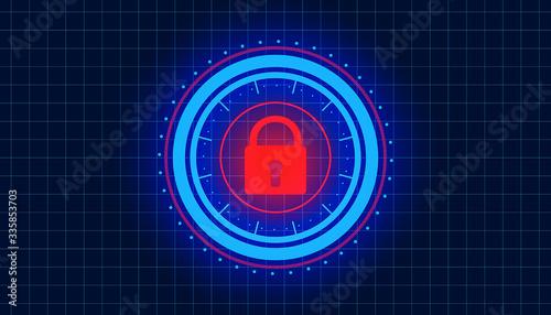 Fototapety, obrazy: Illustation of a HUD with a padlock symbol - lockdown