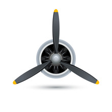 Plane Blade Propeller, Vector Airplane Wood Engine Logo Icon. Aircraft Propeller Fan